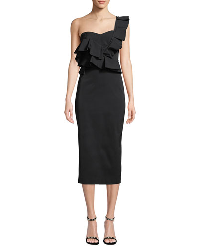 Katalina One-Shoulder Ruffle Midi Cocktail Dress