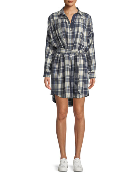 ATM Anthony Thomas Melillo Long-Sleeve Button-Front Plaid Cotton