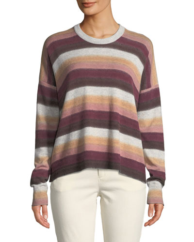 Cashmere-Blend Striped Crewneck Sweater