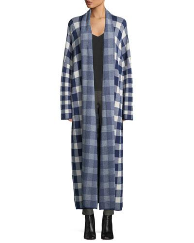 Korda Long Open-Front Check Sweater Coat
