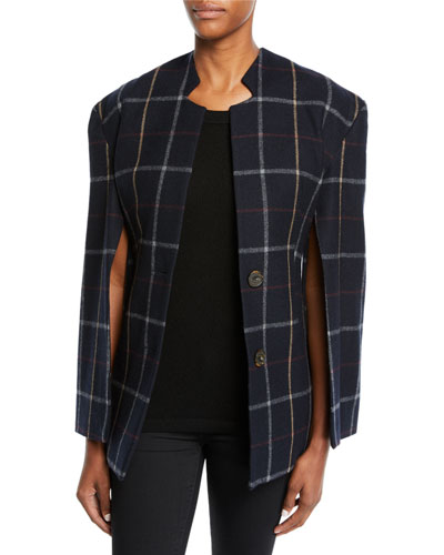 Fitted Notch-Collar Check Jacket with Open Sleeves