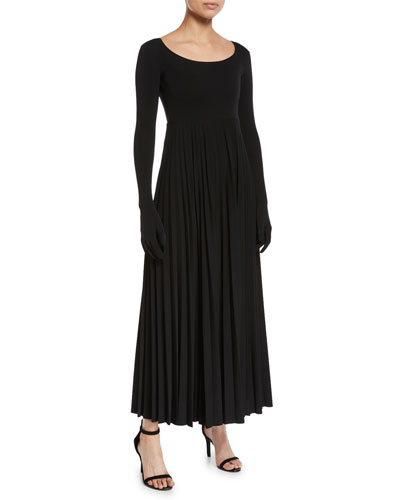 Scoop-Neck Pleated Long Dress with Gloves