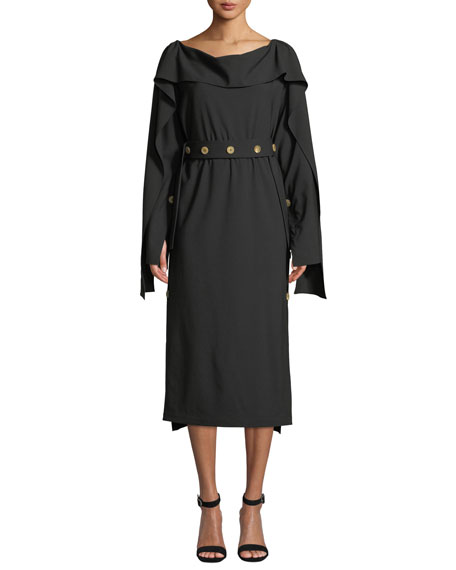 AWAKE Cutout-Back Long-Sleeve Button Midi Dress in Black