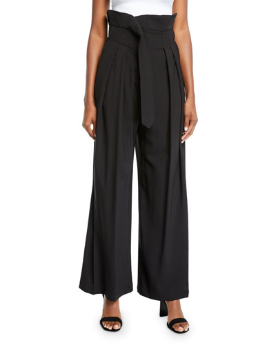 Undone Pleated High-Waist Trousers