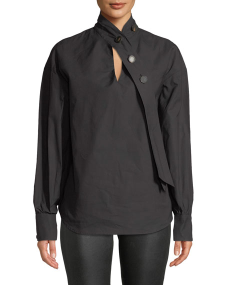 A.W.A.K.E. Tie-Neck Long-Sleeve Cotton Shirt, Black