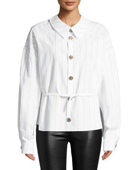 AWAKE Back To Front Striped Button-Down Shirt in White
