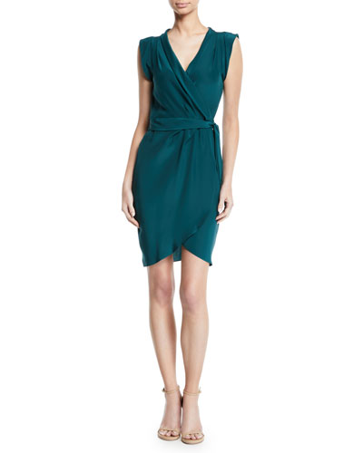 Emmett Silk Sleeveless Wrap Short Dress