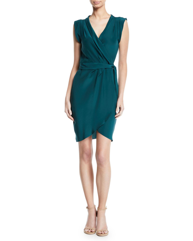Amanda Uprichard Emmett Silk Sleeveless Wrap Short Dress | Neiman Marcus
