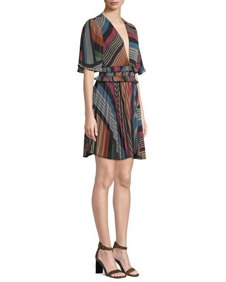 Elaina Pleated Multi-Stripe Dress
