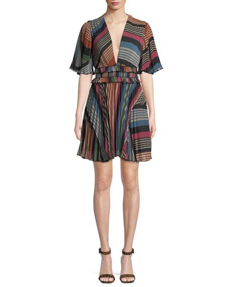 SAYLOR ELAINA PLEATED MULTI-STRIPE DRESS