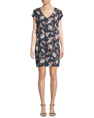 Ramo Floral Flutter-Sleeve Short Dress