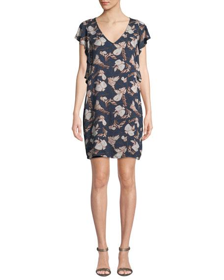 Splendid Ramo Floral Flutter-Sleeve Short Dress