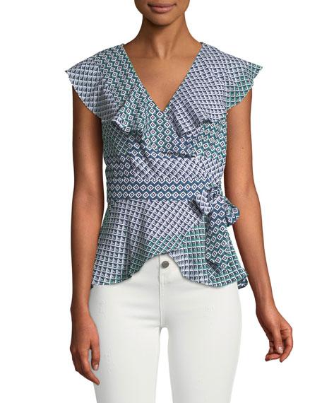 Melinda Geometric Short-Sleeve Wrap Blouse