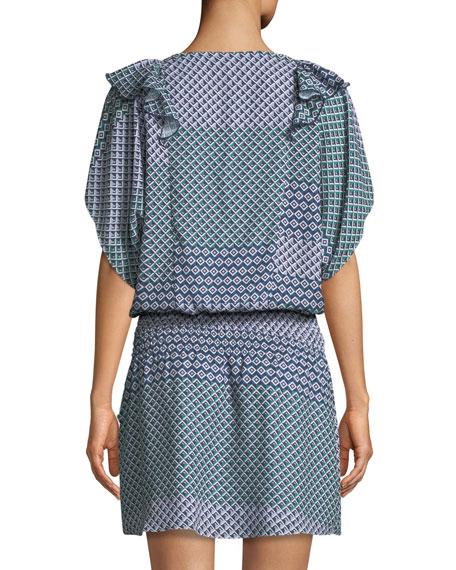 Luisa Geometric-Print Short-Sleeve Mini Dress
