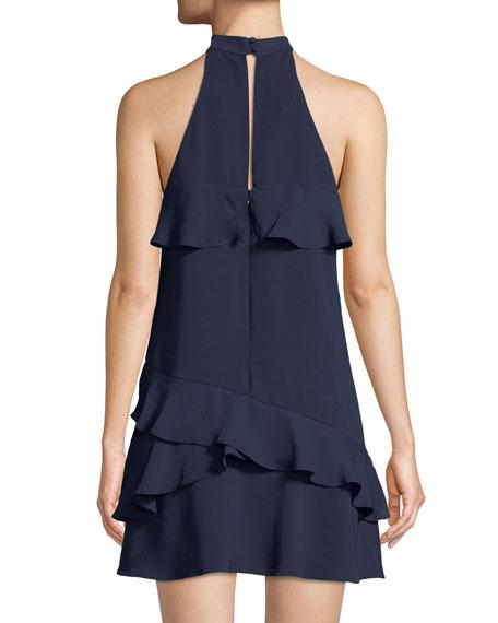 Serafina High-Neck Ruffle Mini Combo Dress