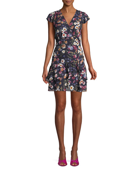 Sloane Ruffle Floral-Print Short Dress