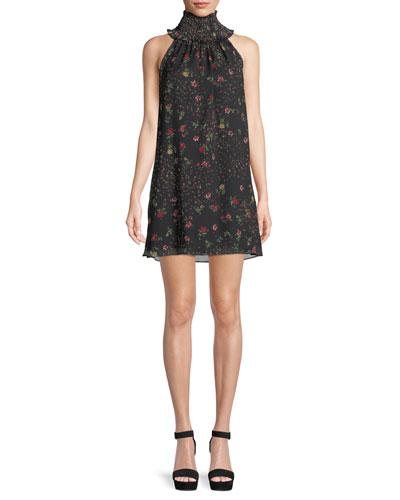 Irina Floral Turtleneck Sleeveless Mini Dress