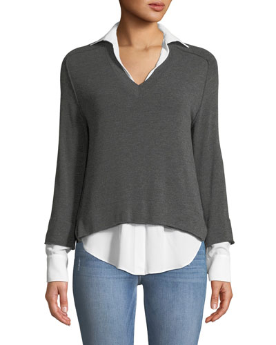 Grand Duke Layered Sweater Twofer Top