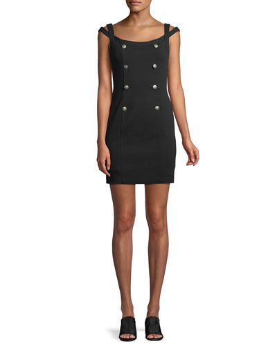Commissar Ponte-Knit Sleeveless Mini Dress
