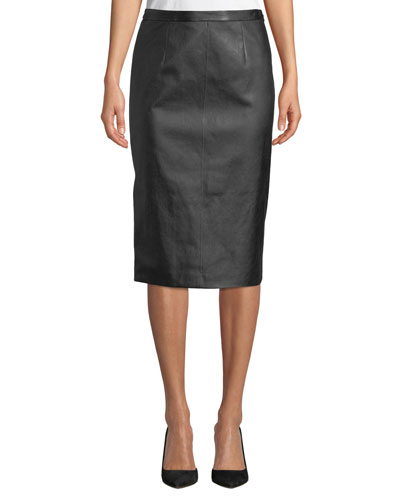Stretch-Leather Pencil Skirt