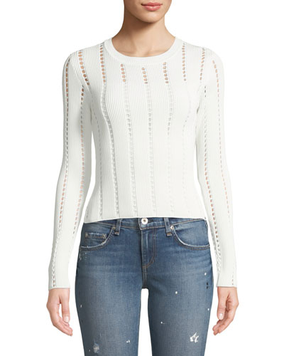 Siberian Pointelle Knit Ribbed Sweater