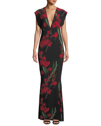 Floral V-Neck Rectangle Gown