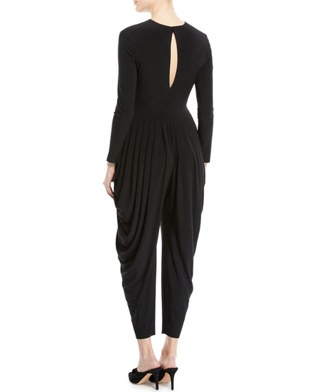 Jewel-Neck Long-Sleeve Waterfall Stretch Jersey Jumpsuit