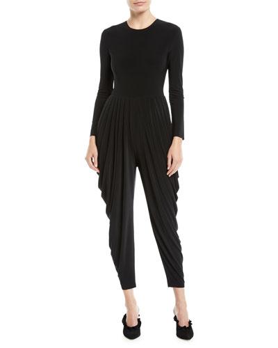 Jewel-Neck Long-Sleeve Waterfall Stretch Jersey Jumpsuit
