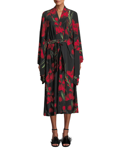 Rose-Print Mid-calf Robe