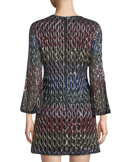 Thym Sequin Trumpet-Sleeve Cocktail Dress