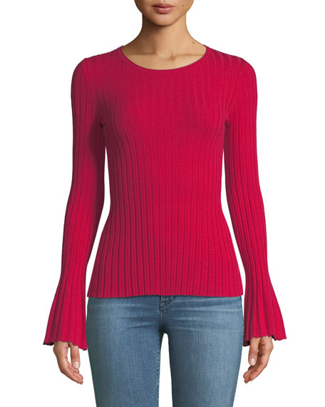 Cossak Ribbed Bell-Sleeve Sweater, Rich Red
