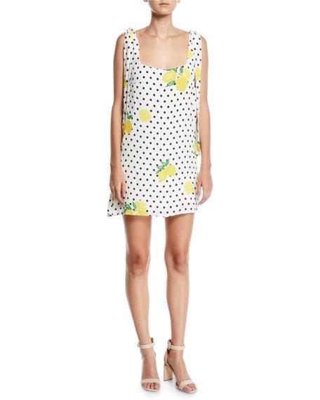 LOVERS & FRIENDS Jen Short Lemons-Print Dress in White