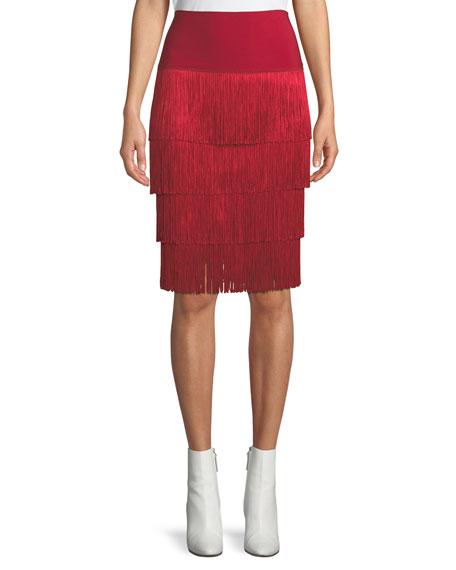 Norma Kamali Jersey Skirt w/ Fringe Layers