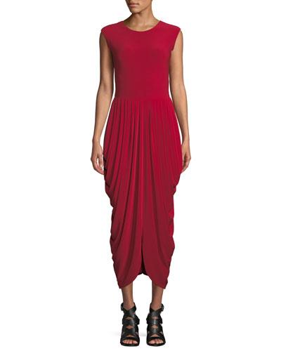 Sleeveless Waterfall Drape Cocktail Dress