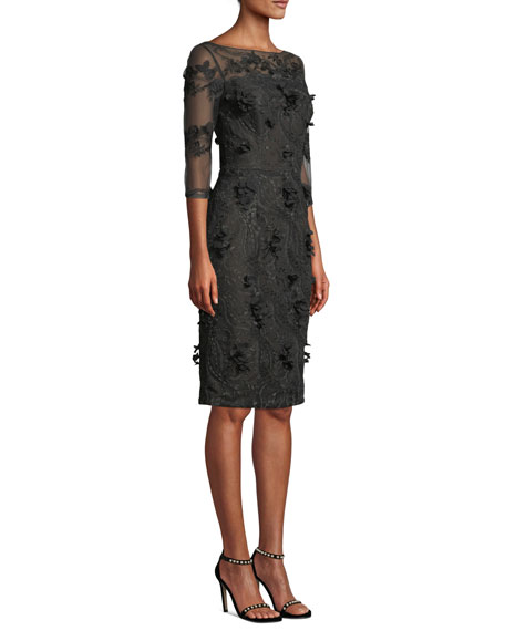 Illusion Cocktail Dress w/ 3D Embroidery