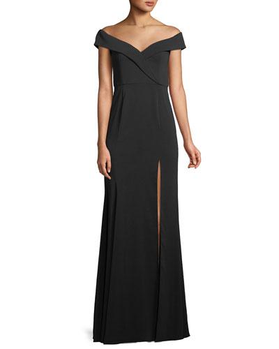 Off-the-Shoulder Crepe Gown w/ Front Slit