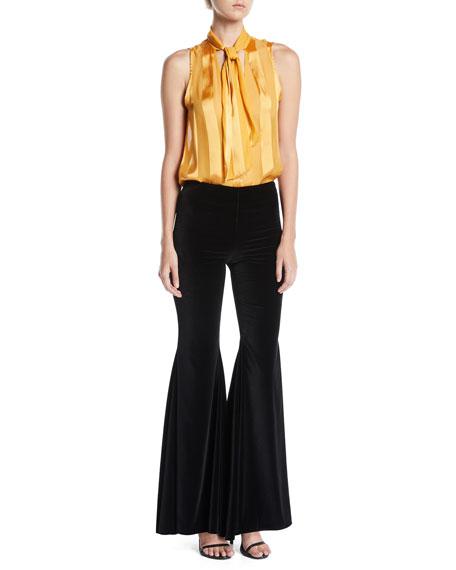 Jinny Side-Zip Full-Length Velvet Pants