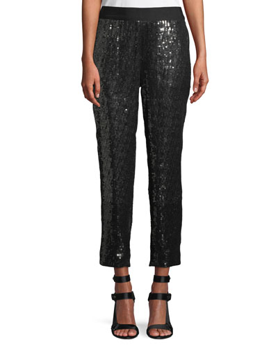 Stacey Sequin Tapered-Leg Pull-On Cropped Pants