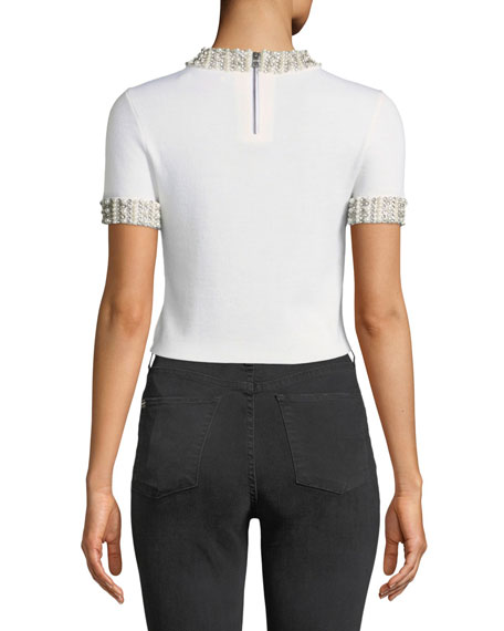 Ciara Mock-Neck Short-Sleeve Fitted Cropped Sweater