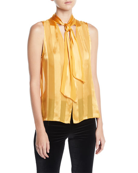 Gwenda Sleeveless Paneled Tie-Neck Blouse