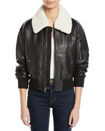 16db501e97e0 Derek Lam 10 Crosby Cropped Leather Flight Jacket w  Faux Shearling Collar
