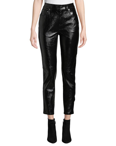 Lou High-Waist Patent Leather Cropped Skinny Pants