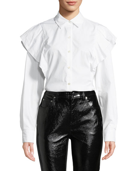 Derek Lam 10 Crosby Long-Sleeve Ruffle Shoulder Button-Front