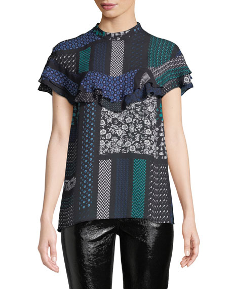 Derek Lam 10 Crosby Printed Ruffle Button-Back Silk
