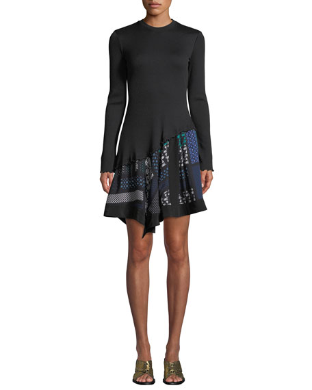Derek Lam 10 Crosby Ribbed Long-Sleeve Dress with
