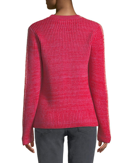 Ribbed Crewneck Merino Pullover Sweater