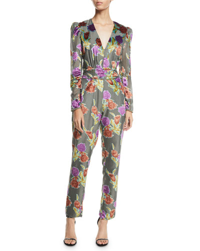 Larah V-Neck Floral Burnout Velvet Jumpsuit