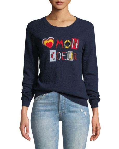 CHINTI & PARKER Mon Coeur Cashmere Intarsia Pullover Sweater in Blue
