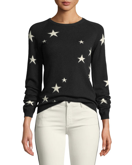 Chinti And Parker Star Cashmere Intarsia Crewneck Sweater