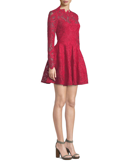 Rita Long-Sleeve Mini Dress in Corded Lace